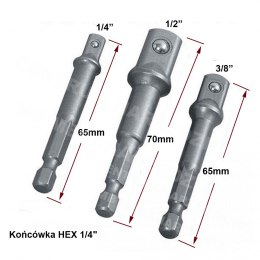 "ADAPTERY DO WKRĘTARKI 1/4"" 3/8"" 1/2"" FT015038"