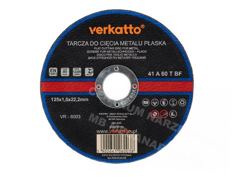 VR-6003 TARCZA DO METALU PŁASKA 125x1,0mm